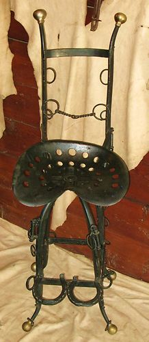 VINTAGE WESTERN FOLK ART BAR COUNTER STOOL STEEL CHAIR HORSE SHOE TRACTOR SEAT | eBay