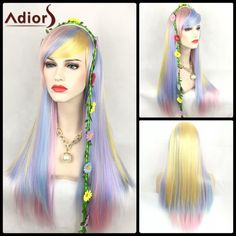 14.44$  Buy now - http://di1jz.justgood.pw/go.php?t=203333301 - Adiors Long Straight Oblique Bang Color Mix Synthetic Party Wig 14.44$