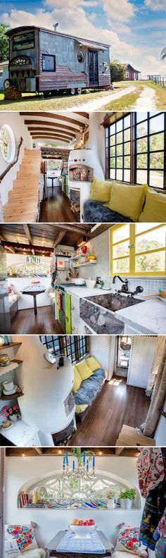 Lots of nice touches inside this Tiny House! Florida couple Rebekah and Robert Sofia built their own tiny house, the Gypsy Mermaid, and it is one of the most artistic, creative builds we've seen! Tiny House Cabin, Tiny House Living, Tiny House Plans, Tiny House On Wheels, Tiny House Design, Small Living, Tiny House Movement, Tiny Spaces, Little Houses