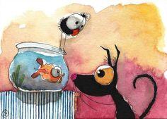 ACEO Original watercolor Folk Art painting black Stressie cat crow gold fish fun