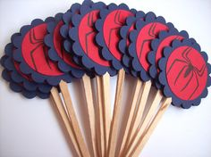 Spiderman Cupcake Toppers