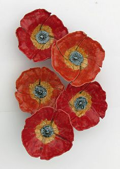 Poppy Field by Amy Meya: Ceramic Wall Art available at www.artfulhome.com