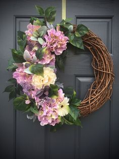 Hydrangea Wreaths, Purple Spring Hydrangeas, Purple Green, Spring Door Wreaths, Purple Wreaths, Spring Decor, Easter Door Wreaths by WreathsByRebeccaB on Etsy