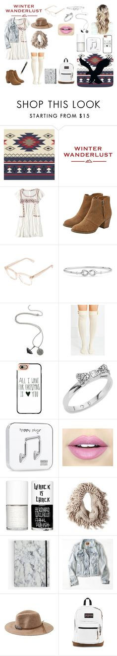 """""""Winter Wanderlust with American Eagle: Contest Entry"""" by ldiaz362 ❤ liked on Polyvore featuring American Eagle Outfitters, Robert La Roche, Blue Nile, Coven, Casetify, Kate Spade, Happy Plugs, Fiebiger, Uslu Airlines and Fountain"""