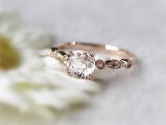 Elegant Diamond Morganite Engagement Ring 14K Rose Gold with Morganite solitaire and diamonds Round Ring by InOurStar on Etsy https://www.etsy.com/au/listing/195775957/elegant-diamond-morganite-engagement