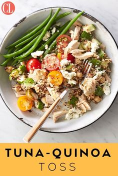 A whole-grain protein bowl is the perfect solution for when lunch needs to be quick--as well as tasty, filling, and healthy, and this Tuna Quinoa Toss fits the bill. Cook quinoa ahead of time (or buy precooked, available in pouches near the rice). To complete the lunch, serve with 1/2 cup steamed green beans. | Cooking Light