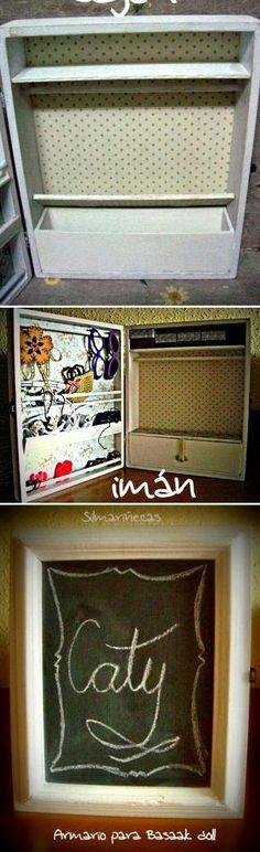 DIY: Cómo hacer un armario para muñecas con una caja de madera.