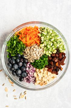 Healthy broccoli salad recipe made with simple ingredients like fresh blueberries, carrots, sweet dried apricots, Vegetarian Broccoli Salad, Focus Foods, Clean Eating, Healthy Eating, Spinach Strawberry Salad, Salad With Sweet Potato, Potato Salad, Sprouts Salad, Fresh Broccoli
