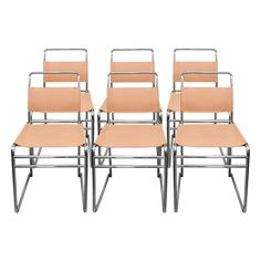 Viyet - Designer Furniture - Seating - Vintage Leather and Chrome Chairs