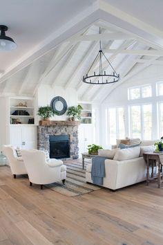 White Lake House Living Room Decor