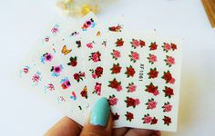 Nail Art, Red Roses nails, Nail Decal, Nail Design, Floral nail Art, Nails, 3d Nail art, Nail wrap - 5 sheets of flowers water decals