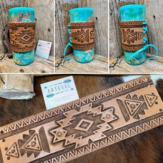 Leather Accessories, Leather Jewelry, Leather Bracelets, Leather Tooling, Leather Wallet, Tooled Leather, Leather Working Patterns, Custom Cups, Leather Pattern