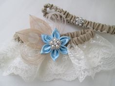 BURLAP Wedding Garters Light Blue Garters by GibsonGirlGarters