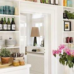 kitchens - built in shelving over doorway