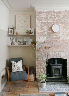 How to style an alcove - Exposed brick chimney breast in a Victorian terrace with mid-century modern styling in an alcove - New Living Room, Living Room Interior, Home And Living, Living Room Decor, Living Room Brick Wall, Exposed Brick Fireplaces, Exposed Brick Bedroom, Exposed Brick Kitchen, Victorian Terrace Interior