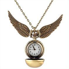 Harry Potter En or Mouchard collier horloge ancien bronze cadeau d'anniversaire