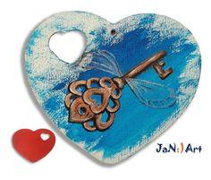 Wooden hand painted heart, Harry Potter, Hogwards, Key, Key with wings, Valentine gift Art, Gift for Her Gift for Him, Custom order, Jan Art