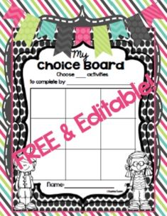FREE & EDITABLE Choice Boards {4 Formats!}