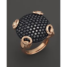 Gucci 18K Rose Gold And Black Diamond Horsebit Ring, 6.57 ct.t.w. ($11,550) ❤ liked on Polyvore