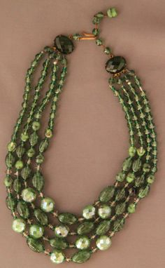 Green Bead NecklaceWest Germany JewelryVintage West by Tannettes, $50.00