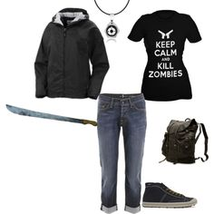 Getting ready to kill zombies and whatnot!  Comfy shoes, raincoat with hood, compass, and a big sharp object.  It's a start!