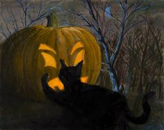 """$295.00 """"Kitty Pumpkin"""" Original Oil Painting by Sean Koziel 30"""" x 24"""" at TwoEasels Halloween themed painting with a little mischievous kitty."""
