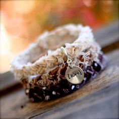 Chocolate Caramel Latte Braided Fabric Bracelet with Hand-Stamped Tag.  so inlove