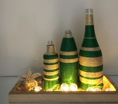 Wrapped bottles X-mas Green