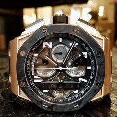 Royal Oak Offshore  Chronograph Tourbillon  Rose Gold Forged Carbon & Ceramic  @audemarspiguet #audemarspiguet #audemars #tourbillontuesday #rosegold #tourbillon #watch #watchesofinstagram #wristwatch #materialgoodny #nyc #soho #120wooster by materialgood