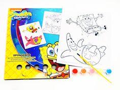 MALSET 7tlg Micky Maus Spider-Man Spongebob Bild 5x Farben Pinsel ausmalen malen(Spongebob Schwammkopf)