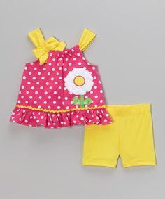 Loving this Pink Polka Dot Tank & Yellow Shorts - Infant & Toddler on #zulily! #zulilyfinds