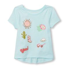 Girls Short Sleeve Embellished Graphic Hi-Low Top   The Children's Place
