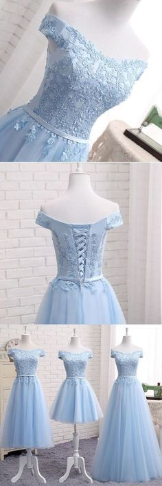 Blue tulle strapless customize bridesmaid dress, lace prom dress #prom #dress #promdress