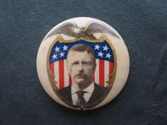 T. ROOSEVELT BUTTON- 1904 ELECTION Rough Riders, Political Campaign, Theodore Roosevelt, Us Presidents, Presidential Election, Military History, Porsche Logo, Bullying, American History