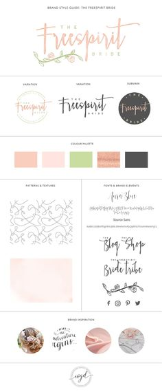 Brand Style Board for The Freespirit Bride | This branding board for a wedding business and blog has a soft blush, green and rose gold colour palette with a boho rose and leaf vine. If you require branding services for your wedding business, click through to find out more. Wonderland Graphic Design - Styling your way to a better business!