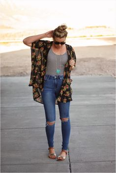 45 Trendy Summer Outfits with Ripped Jeans 52 Hair Talk Featuring Styles for Less Giveaway 7 Jean Outfits, Boho Outfits, Casual Outfits, Cute Outfits, Fashion Outfits, Casual Wear, Vintage Outfits, Outfit Jeans, Trendy Summer Outfits
