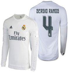 6386657bb Adidas sergio ramos real madrid long sleeve home jersey 2015 16. Football  UsaFootball JerseysSergio RamosReal MadridSoccer Jerseys