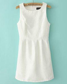 Beige Round Neck Sleeveless Embroidered Slim Dress - Sheinside.com