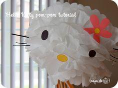Hello Kitty pom pom tutorial.....Pami, you gotta make this!
