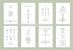 Vector Art : Set of vector trendy cards with geometric icons.