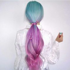 ombre hair color | blue | purple | cotton candy | lavender | pink | vivid | lilac | ocean | turquoise | long hairstyle | ponytail