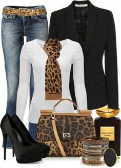 Cheetah scarf, cheetah style belt, black blazer, handbag and high heel sandals work outfit