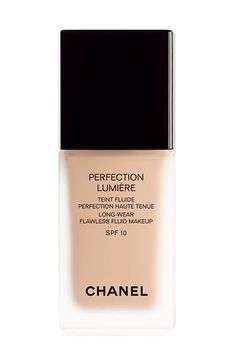 The Secrets To Gorgeous, Glowing Skin:  Step 2: Dot or Brush on Foundation  Chanel Perfection Lumière Long-Wear Flawless Fluid Sunscreen Makeup chanel.com.