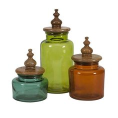 IMAX Saburo Glass and Wood Lid Canisters, Set of 3 ** See this awesome image : Planters Pots containers Kitchen Canister Sets, Glass Canisters, Glass Jars, Storage Canisters, Glass Bottle, Mason Jars, Home Decor Accessories, Decorative Accessories, Kitchen Accessories