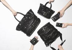 ライダースの一部を切り取ったようなディテールが特徴的なビッグトートバッグ、キッズトートバッグ、ショルダーバッグ、長財布、2つ折り財布、キーケースの全6型。