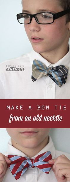 Sew Craft how to make a bow tie from a necktie - grew pattern and sewing tutorial - great teen boy gift! - learn to make a bow tie from an old necktie with this free sewing pattern and easy sewing tutorial. great handmade gift for teen or tween boys! Easy Sewing Projects, Sewing Projects For Beginners, Sewing Hacks, Sewing Tutorials, Sewing Tips, Sewing Lessons, Sewing Crafts, Sewing Dress, Sewing Clothes
