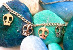 Skull Necklace  Repurposed Preloved Jewelry by ReTainReUse on Etsy, $12.00