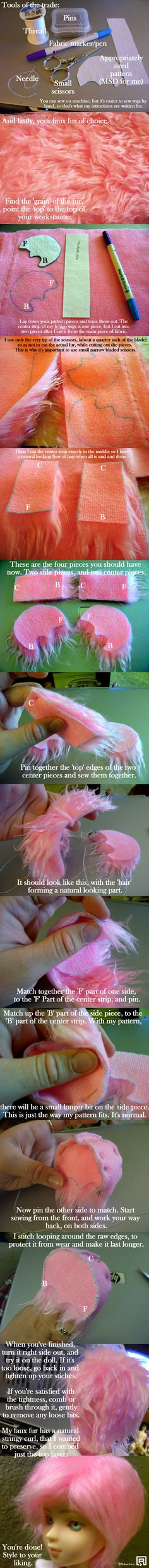 COULD BE USEFUL IN COVERING 1/6 SCALE DOLLS THAT HAVE LOST THEIR HAIR....Faux fur wig