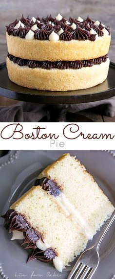 The classic Boston Cream Pie gets a modern makeover! Vanilla cake layers, creamy custard, and a rich chocolate ganache. Baking Recipes, Cake Recipes, Dessert Recipes, Just Desserts, Delicious Desserts, Salty Cake, Pie Cake, It Goes On, Savoury Cake