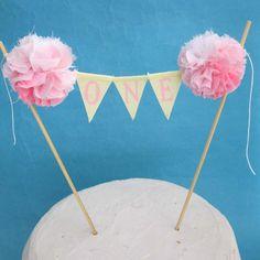 Custom cake banner for  jab0521, Yellow Pink Ombre Cake banner, smash cake, pink birthday, ONE - birthday cake banner topper via Etsy